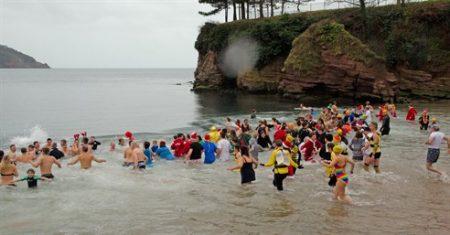 Boxing Day Dip ~ Torquay @ Corbyn Head Beach   England   United Kingdom